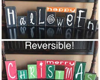 Reversible Happy Halloween and Merry Christmas Decorative Blocks