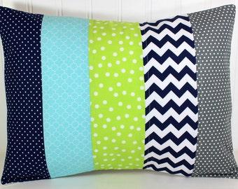 Pillow Cover, Nursery Decor, Cushion Cover, Throw Pillows, Pillow, 12 x 16, Aqua Blue Navy Blue Gray Grey Lime Green White Chevron Baby Boy