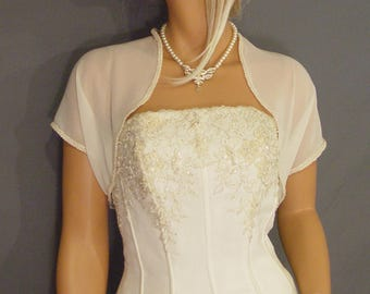 Chiffon bridal bolero jacket wedding shrug short sleeve trimmed bridal shrug cover up CBA203 AVAILABLE IN ivory and 4 other colors.