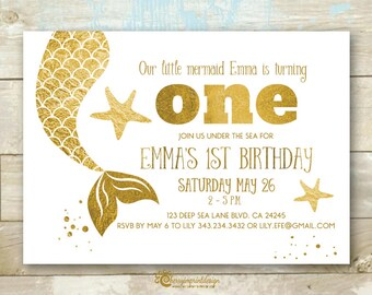 Mermaid Gold Birthday Invitation - Great For First or Any Birthday - Under the Sea Themed Party - DIY Digital File (PDF or JPEG)