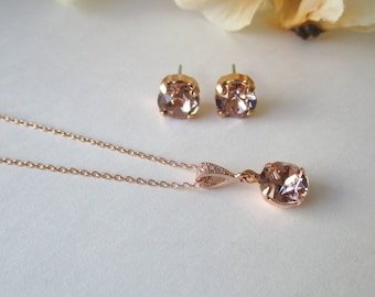 Blush Necklace, Blush Earrings, Rose Gold Earrings and Necklace Set, Bridesmaid Jewelry Set, Simple Jewelry, Swarovski Crystal Stud Earrings