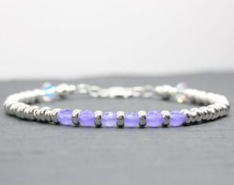 Chalcedony Bracelet, Violet Chalcedony Gemstone, Purple Beaded Bracelet, Dainty Silver Bracelet, Anniversary Gift, Purple Gemstone Bracelet