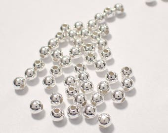 Pack of 50, 925 sterling silver seamless 3mm round bead / spacer, 1.2mm hole [our ref: pa293]