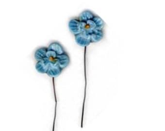 2 Vintage Hard Plastic Blue Flower Components on Wire Stem