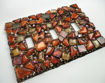 Mosaic Tile Mixed Media Art Switch Plate Triple Toggle Mosaic Switch Plate Cover Copper Gold Rust - Glass Mosaic Art Switch Plate Handmade