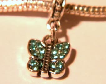 Pearl Libra pendant Shamballa European-turquoise-Butterfly - 23 mm - D63