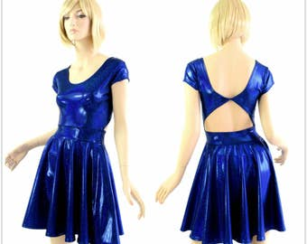 Blue Sparkly Jewel Metallic Holographic Twist Back Scoop Neck Cap Sleeve Fit and Flare Skater Skate Dress Rave Clubwear EDM - 154296