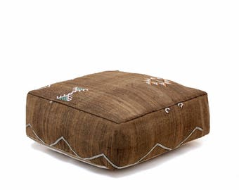 Moroccan Pouf, Cactus Silk Pouf Ottoman, Floor Cushion, Floor Pillow, Foot Stool, Refashioned from a Berber Sabra Rug. PNS103