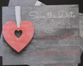 Save the Date Heart Magnets