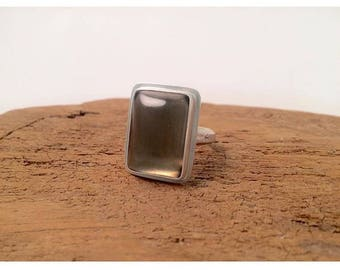 Hand Made Smoky Quartz & Sterling Silver Ring Size 7.75