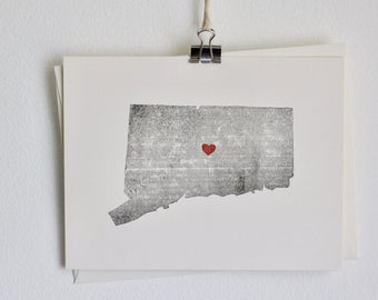 Connecticut State Notecard / Heart / Greeting Card / Rustic / Modern / Moving / Thank You / Chic / Handmade / Wedding / Travel