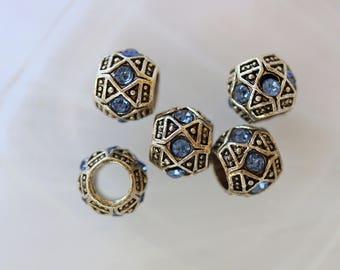 Perle metal blue Rhinestone Charm