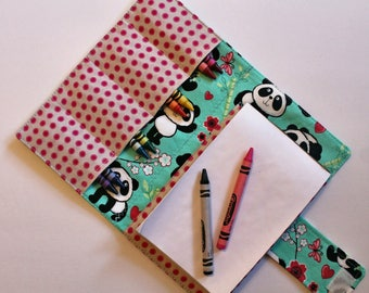 Crayon Holder - Kids Coloring - Travel Toy - Panda Crayon Case - Coloring - Kids Coloring - Children's Gift - Party Favor