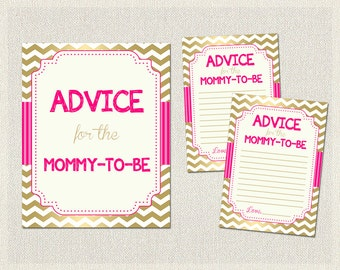 ADVICE for MOMMY Advice for the mommy to be Hot Pink Gold Advice for Parents to be Chevron Pink Gold Baby Shower Games Girl Girls BS-19