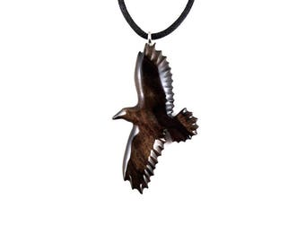Raven Pendant, Raven Necklace, Wooden Raven Pendant, Crow Pendant, Crow Necklace, Raven Jewelry, Raven Totem, Spirit Animal Crow Jewelry