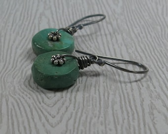 Turquoise Earrings Rustic Gemstone Wheels Oxidized Sterling Silver Drop Earrings