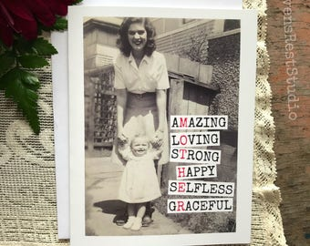 Mother's Day Card. Greeting Card. Mother Quote. Vintage Mom.  MOTHER - Amazing Loving Strong Happy Selfless Graceful. Card #524.