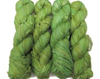 New! Premium  Sari Silk  Ribbon yarn ,  100g , color: Lime
