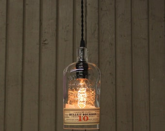 Bulleit 10 Year Bottle Pendant Light - Upcycled Industrial Glass Ceiling Light - Handmade Bourbon Bottle Light Fixture, Recycled Lighting