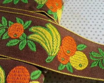 """Vintage Fruit Woven Trim - Orange Yellow Green Brown Jacquard - Oranges Bananas Leaves Ribbon - 2"""" Wide - 9 1/2 Yards - DESTASH SALE"""
