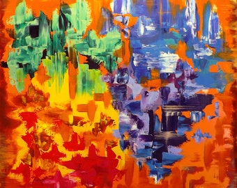Original art, oil painting - 60 x 60cm, abstract art, colorful, blue, violet, yellow, green, orange, red