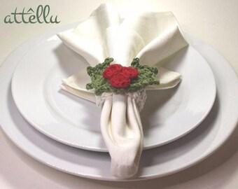Mistletoe Napkin Rings / Christmas Table Decoration / Set of 6 Christmas napkin rings