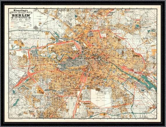 Berlin Map Antique Reproduction Map Vintage Map Berlin Map - Vintage map berlin