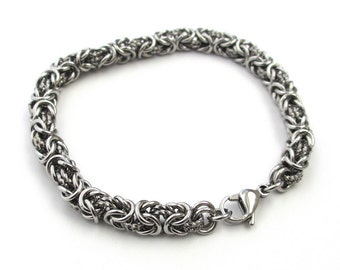 Stainless steel bracelet, chainmail Byzantine bracelet for men or women with twisted wire links