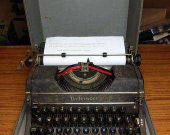 1947 Underwood Universal portable manual typewriter with case