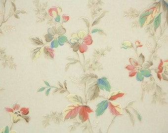 1930s Vintage Wallpaper by the Yard - Antique Floral Wallpaper with Yellow Orange and Green Flowers and Leaves on Ivory