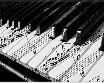 "Piano Canvas Giclee Art Print (53) 12""x8"""