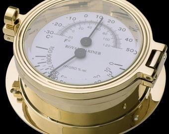 Brass NZ thermometer / hygrometer Brass thermometer / hygrometer Royal Mariner thermometer / hygrometer New Zealand thermometer / hygrometer