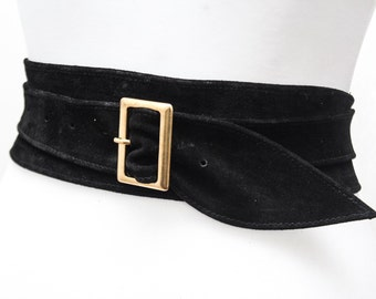 Black Suede Obi Buckle Belt | Black Belt | Corset Obi Belt | Suede Buckle Belt | Plus Size Belts