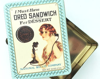 Vintage Oreo Sandwich Cookie 1918 Replica Tin by Nabisco National Biscuit Company Kitchen Storage Collectible Decor