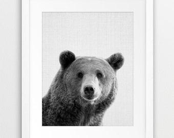 Bear Print, Woodlands Animal Wall Art, Nursery Animal Decor, Black And White Print, Woodlands Animal Photo, Kids Room Decor, Printable Art