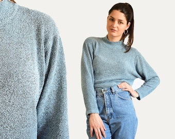 90s comfy sweater, relaxed sweater, blue sweater, turtleneck sweater, minimalist sweater, large size, loose sweater, grunge sweater