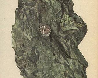 Vintage 1950 DIAMOND Minerals Print Antique Gems Precious Stones print gemstones print, bookplate art print, minerals wall print wall art