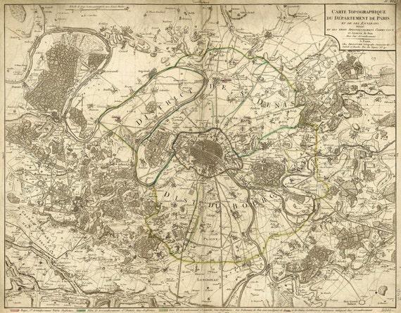 "Old map of Paris (1895) Paris map in 5 sizes up to 43""x55"" (109x140cm) Restoration deco Style Vintage map of Paris, France, Home Decor"