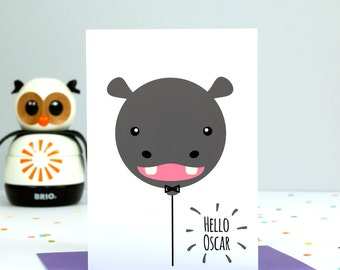 Personalised New Baby Card - Hippo Balloon