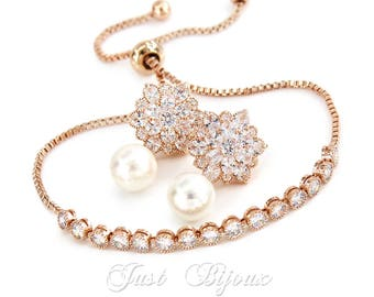 Wedding Earrings Bracelet Rose gold Zirconia Earrings Bracelet Wedding Jewelry Bridal Jewelry Bridesmaid Earrings Bridesmaid Gift