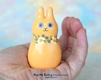 Easter Gift Handmade Bunny Rabbit Figurine, Miniature Sculpture, Gold Yellow Floral, Animal Figure with Flowers, Personalized Tag