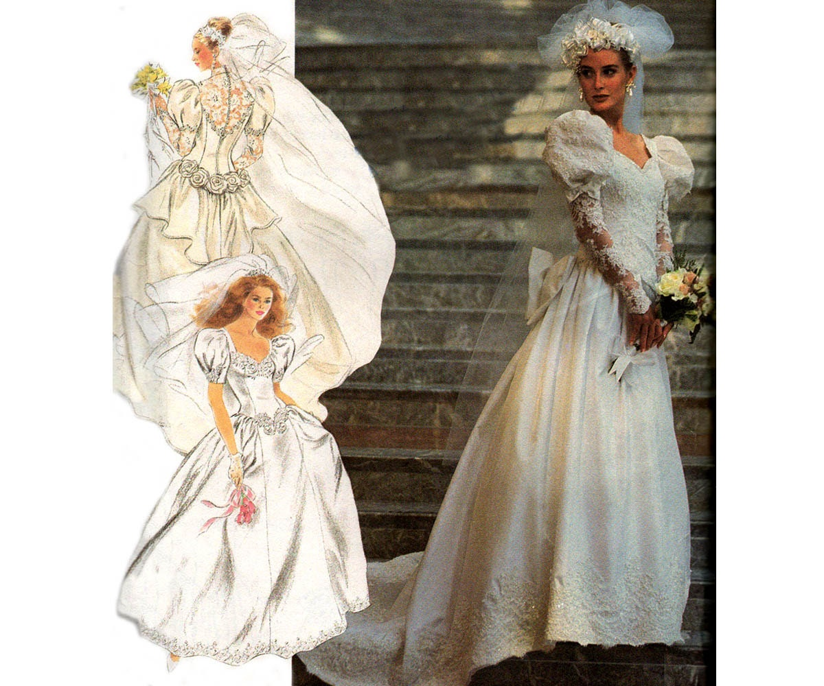 90s Design Your Own Wedding Dress Pattern Simplicity 7429 Lace ...