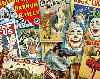Circus Vintage Style Posters, Digital Collage, Scrapbook Supplies, Circus birthday party printable, Clowns, Elephant, tigers, Carnival image