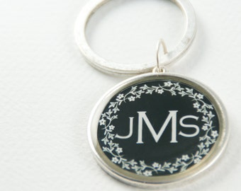 Personalized Keychain | Custom Name Keychain | Antiqued Silver Keychain