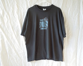 90s The Shadow Knows Grunge Distressed Graphic T-Shirt