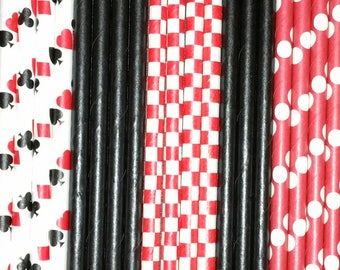100 count Casino Royale Paper Straws, Poker Party, Playing Cards, Clubs, Hearts, Spades, Diamonds, Candy Apple,