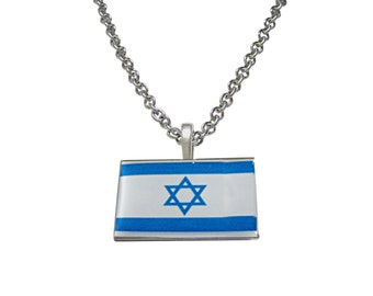 Israel Flag Pendant Necklace