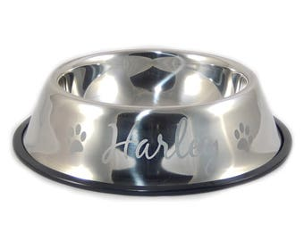 Personalized Pet Food Bowl, Water Bowl, Stainless Steel, Dog Lover, Man's Best Friend, Pet Parent Gift, Custom Pet Bowl, Custom (CS5025)