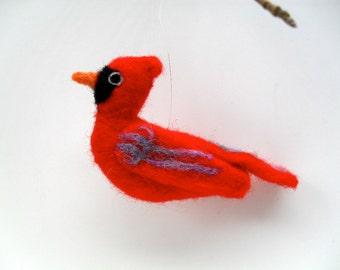 Cardinal needle felted wool bird ornament