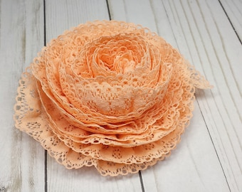 5 Yards of Light Peach Lace Trim, Vintage Orange Color Ruffled Lace Edging, 1 inch wide